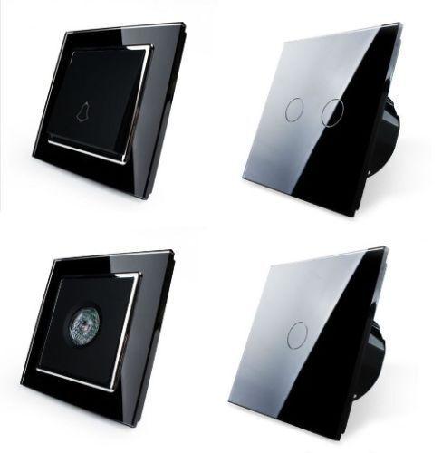 LIVOLO Lichtschalter Glas Touchscreen Wechselschalter Steckdose Schwarz