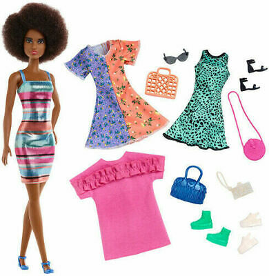 Mattel Barbie Fashion Party Doll With 4 Dresses Accessories African American