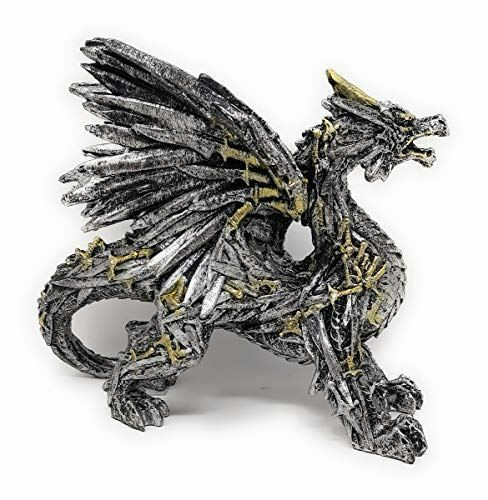 """Dragon Hand Painted Silver Gold Swordwing Dragon Statue Figurine 6.5"""" Tall"""