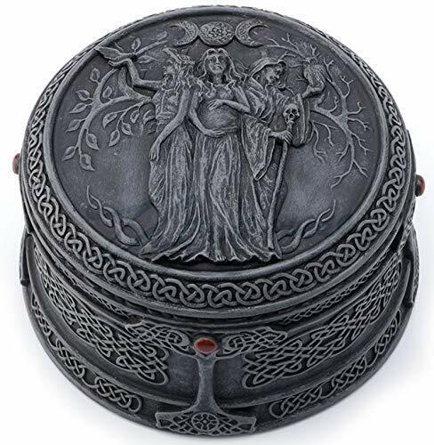 "4"" Celtic Trinket Box Triple Goddess Maiden Mother & The Crone"