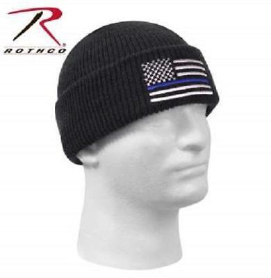 Blue Police Hat (Thin Blue Line Police Knit Hat Cap Winter Beanie Watch Cap Law Enforcement)