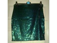 Ladies H&M Divided GREEN sequin skirt size M BNWTs
