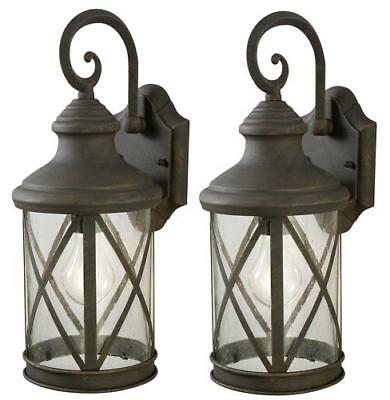 Set of 2 Outdoor Wall Light Weathered Patina Vintage Home Exterior Lamp Sconce - Patina Outdoor Sconce