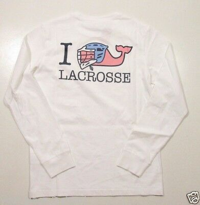 Vine Jungen T-shirt (Vineyard Vines Boys L/S White Cap I Whale Lacrosse Graphic Pocket T-Shirt)