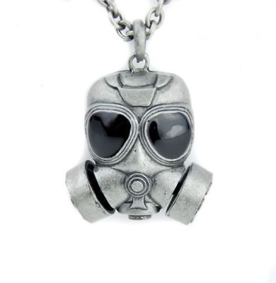 Gas Mask Necklace with Chain Bio hazard Punk Zombie Gothic Halloween - Zombie Gas Mask