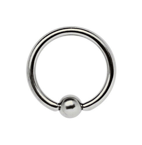4 mm Gold Klemmkugel Ring Septum Ohr Brust Intim Piercing vergoldet 4 mm x 14 mm