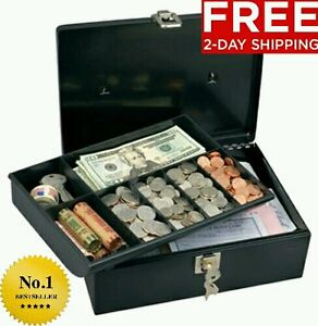 NEW MASTER KEY LOCK SECURITY BOX METAL SAFE STORAGE MONEY JEWELRY CASH COIN TRAY