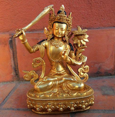 "Tibetan Manjushree Fully Gold Plated 8.5"" High Statue-Handmade statue-BST282"