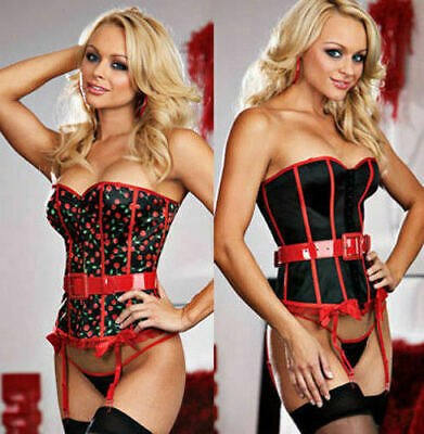 - Dreamgirl 6103 Reversible Cherry/Black Satin Corset Belt Thong Stockings Set