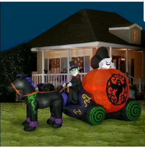 Halloween Air Blown Inflatable 12' Kaleidoscope Ghost Coach/Carriage Scene LED