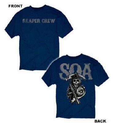 Sons Of Anarchy Distress Reaper Crew Two Sided Biker Chopper Mens T Shirt S 3Xl