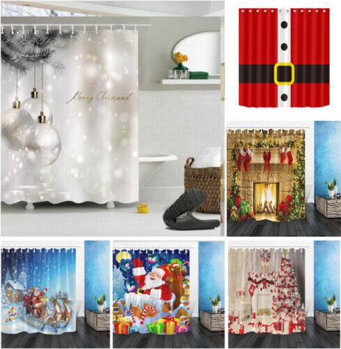 Santa Claus stands on Christmas ball Shower Curtain Bathroom Fabric /& 12hooks