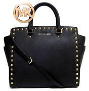 Michael Kors Black Studded Handbag