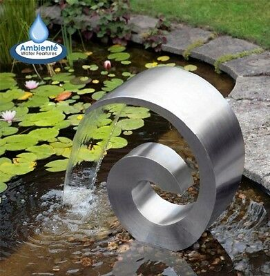Stainless Steel Cascading Water Fountain Ammonite No Basin Cascade - 19""