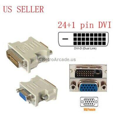 Dvi D Male To Vga Female (DVI-D 24+1 25 Pin Male To VGA 15 Pin SVGA Female Video Monitor Adapter)
