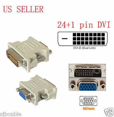 24+1 pin DVI-D Male Adapter to 15 Pin VGA Female Video Converter lots wholesale Audio Cables & Interconnects