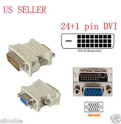 24+1 pin DVI-D Male Adapter to 15 Pin VGA Female Video Converter lots wholesale Dvi D Male To Vga Female