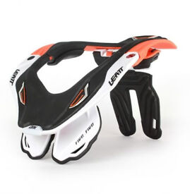 New Adult L/XL Leatt GPX 5.5 Neck Brace Support Motocross Enduro WHITE/ORANGE