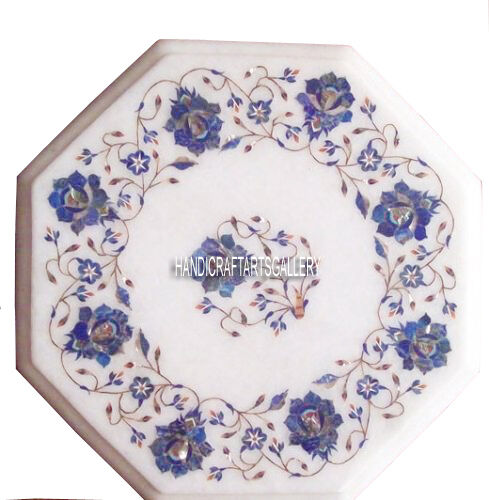 "12"" Marble Coffee Table Top Mosaic Ramadan Lapis Gemstone Floral Art Decor H2964"