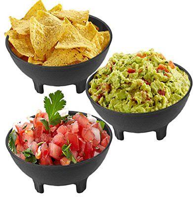 3x Salsa Bowls Plastic Mexican Molcajete Chips Guacamole Serving Dish Salceros