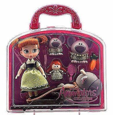"Disney Authentic FROZEN Princess Anna Animator Mini 5"" Toddler Doll Box Set NEW"