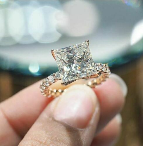 Certified 3Ct Princess White Moissanite Bridal Engagement Ri