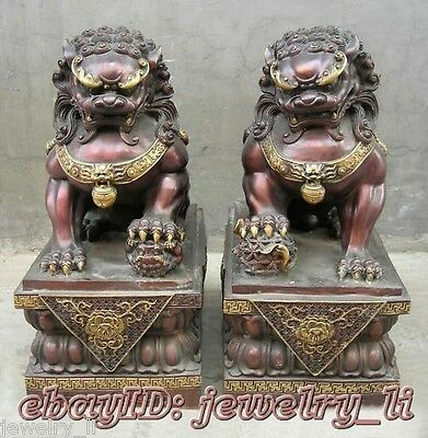 Chinese Antique Copper Guardian Lion Foo Fu Dog Door guard Statue A Pair H21cm