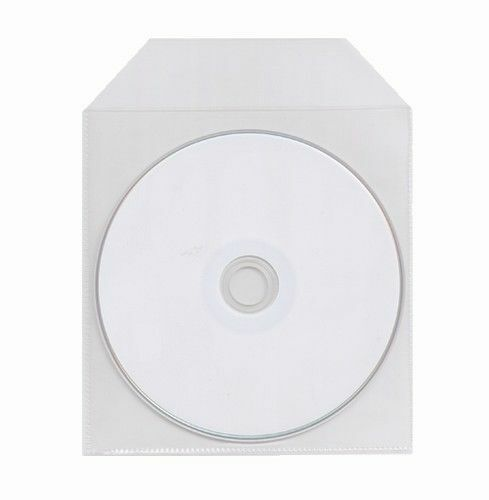 100 THIN CD DVD CPP Clear Plastic Sleeve Bag with Flap 65 Microns
