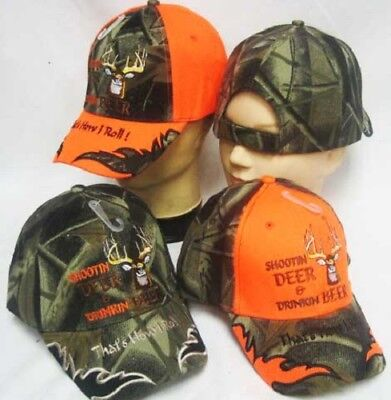 (Shootin Deer Drinkin Beer Redneck Full Camo Bill Embroidered Cap Hat )