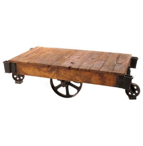 Industrial Metal Coffee Table With Wheels: Industrial Cart Coffee Table