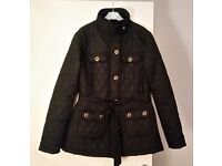 BARTLEY BLACK QUILTED COAT WITH BELT SIZE 14