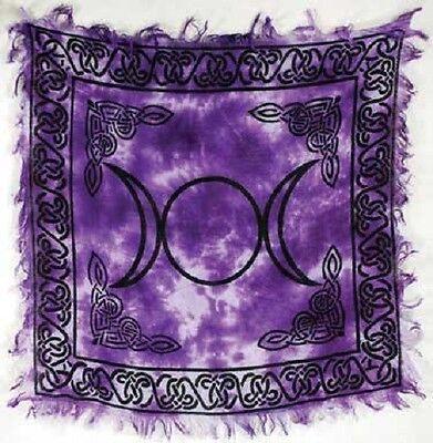 "Triple Moon Altar / Tarot Cloth 18"" x 18"" Violet Tie Dye (NEW, Wicca Pagan)"