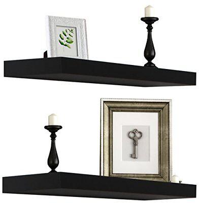 Sorbus Floating Shelves - Set of 2 (Black)