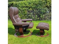 Ekornes Stressless Swivel Brown recliner leather chair and footstool 2016