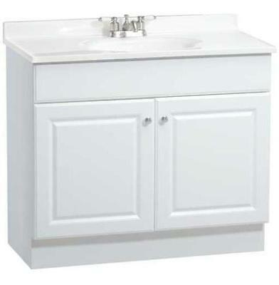 "RSI Richmond 36"" White Bathroom Vanity Cabinet w/ Two Doors & White Marble Top"