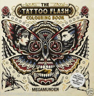Tattoo Art Flash Adult Colouring Book Ghost Trains Pinball Pinups Body Ink Gift ()
