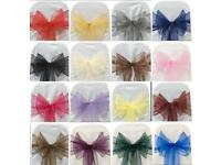 BUY ORGANZA SASH CHAIR COVER BOWS FOR WEDDING PARTY HIGH QUALITY SOFT SASH