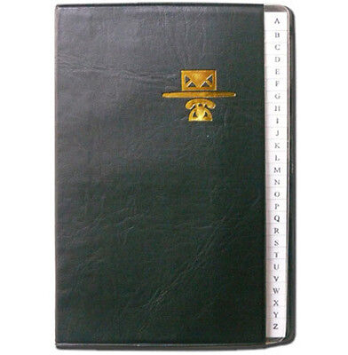 "Personal Phone and Address Book - Black Leather Like Binder - Size 5"" x 7"""