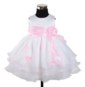 New Flower Girl Party Bridesmaid Wedding Pageant Dress in 5 Colours From 6M-24M