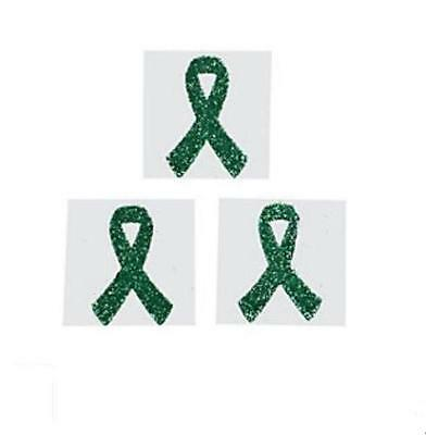Child Depression Kidney Cancer Awareness Green Ribbon Glittery Tattoo Stickers - Green Ribbon Tattoo