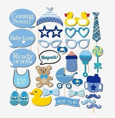 29 PCS Boy Baby Shower baby's bottle Party Masks Photo Booth Props On A Stick
