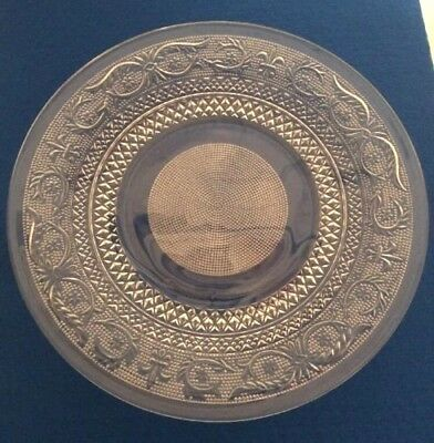 "VINTAGE KIG Malaysia Pressed Glass Clear Plate 10"" Diamond Dot Fleur de Lis"