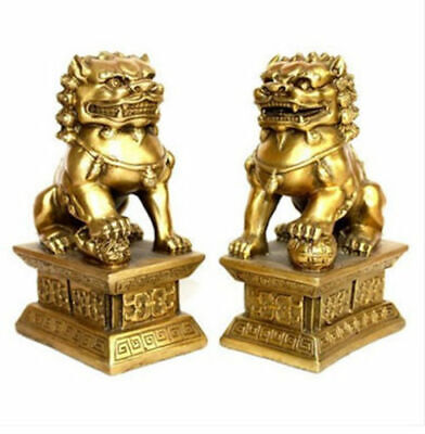 Archaic lion brass statue Fu Foo Dog fengshui Door guard lions Statues pair