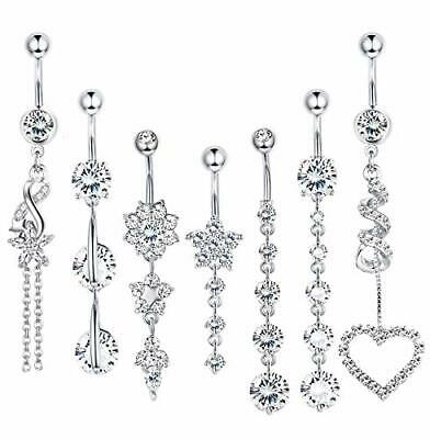 10Pcs 14G Stainless Steel CZ Dangle Belly Button Rings Navel Rings Body Piercing