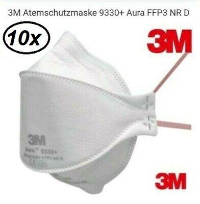 10x 3M Aura 9330+ FFP3 Atemschutzmaske ohne Ventil Mundschutz Partikelfilter
