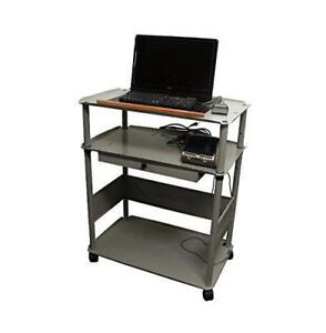 NEW Quartet Euro 43-Inch Wide Screen Monitor Cart, 36 x 45 x 23-Inches, Brushed Silver