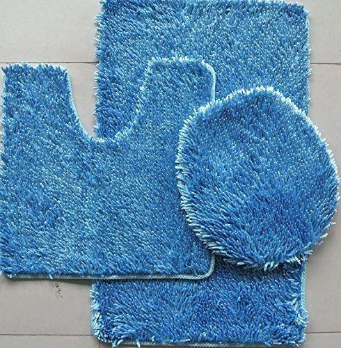 3 PIECE SHINY SOFT PADDED CHENILLE SHAG BATH RUG, CONTOUR RU