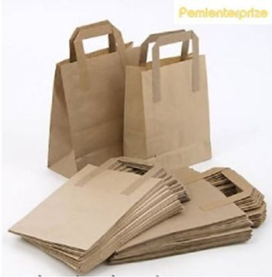 20 Small SOS Takeaway Brown Kraft Paper Carrier Bags with Flat Handles 7x10x8.5