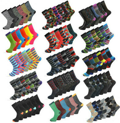 6 Pairs Mens Coloured Design Socks Smart Suit Work Golf Cotton Blend Adults 6-11