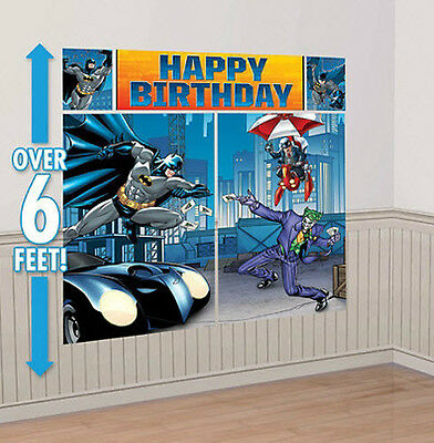 BATMAN Scene Setter HAPPY BIRTHDAY party wall decoration kit over 6' Superhero - Batman Party Decor